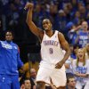 Oklahoma City\'s Serge Ibaka (9) reacts after hitting a shot in the first half during Game 4 of the Western Conference Finals between the Oklahoma City Thunder and the San Antonio Spurs in the NBA playoffs at the Chesapeake Energy Arena in Oklahoma City, Saturday, June 2, 2012. Photo by Nate Billings, The Oklahoman