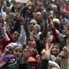 Egyptian protesters chant slogans as they attend a demonstration against a constitution drafted by Islamist supporters of President Mohammed Morsi in Tahrir square in Cairo, Egypt, Friday, Dec. 14, 2012. Opposing sides in Egypt\'s political crisis were staging rival rallies on Friday, the final day before voting starts on a contentious draft constitution that has plunged the country into turmoil and deeply divided the nation.(AP Photo/Khalil Hamra) ORG XMIT: KH108