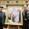 USS Oklahoma survivors Ed Vezey, left, and Paul Goodyear pose with a painting of The USS Oklahoma Memorial during an unveiling reception at the state Capitol in Oklahoma City, Okla. October 8, 2008. BY STEVE GOOCH, THE OKLAHOMAN.