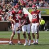 Kickers Dylan Seibert (37), Jed Barnett (44) and Jack Steed (38) practice during half-time of the annual Spring Football Game at Gaylord Family-Oklahoma Memorial Stadium in Norman, Okla., on Saturday, April 13, 2013. Photo by Steve Sisney, The Oklahoman