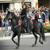 Shania Twain makes her official arrival on horseback at Caesars Palace in Las Vegas on Wednesday, Nov. 14, 2012. Twain is set to begin a two-year residency at the Colosseum with her show