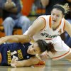 West Virginia\'s Jess Harlee (14) dives for the ball in front of Oklahoma State\'s Liz Donohoe (4) during a women\'s college basketball game between Oklahoma State and West Virginia at Gallagher-Iba Arena in Stillwater, Okla., Tuesday, Jan. 29, 2013. West Virginia won 67-61. Photo by Bryan Terry, The Oklahoman