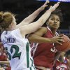 OU\'s Abi Olajuwon tries to get around Notre Dame\'s Erica Williamson as she shoots the ball during the Sweet 16 round of the NCAA women\'s basketball tournament in Kansas City, Mo., on Sunday, March 28, 2010. Photo by Bryan Terry, The Oklahoman