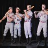 """Jacob Arnold, left, Josh Masterson, Dawson Waugh, and Jacob DeFriese, right, perform """"Take Me Out to the Ballgame."""" during the Edmond Memorial Follies Saturday Jan. 25, 2014. Photo by M. Tim Blake, for The Oklahoman"""