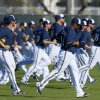 Photo - Milwaukee Brewers pitchers run sprints during spring training baseball practice, Monday, Feb. 17, 2014, in Phoenix. (AP Photo/Ross D. Franklin)