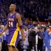 Los Angeles\' Kobe Bryant (24) walks to the bench as Oklahoma City celebrates during Game 5 in the second round of the NBA playoffs between the Oklahoma City Thunder and the L.A. Lakers at Chesapeake Energy Arena in Oklahoma City, Monday, May 21, 2012. Oklahoma City won 106-90. Photo by Bryan Terry, The Oklahoman