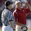 Coach Bob Stoops argues a call with the official during the first half of the college football game between the University of Oklahoma Sooners (OU) and the University of Washington Huskies (UW) at Husky Stadium on Saturday, Sep. 13, 2008, in Seattle, Wash. by Chris Landsberger, The Oklahoman