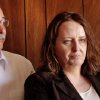 Bobbi Parker stands with her husband, Randy, moments before entering the courtroom to learn her fate. Jurors returned a guilty verdict and recommended a one-year sentence to punish Bobbi Parker on a charge of aiding prison inmate Randolph Dial escape from the Oklahoma State Reformatory in 1994. Dial died in 2007. Parker is led from the the Greer County Courthouse in Mangum , Okla. and taken to the county jail where she will be held until her sentencing. The verdict was given about 2:30 Wednesday afternoon, Sep. 21, 2011. Photo by Jim Beckel, The Oklahoman