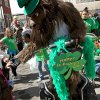 Oklahoma City Thunder mascot Rumble shakes hands with Gracie Mahoney, age 7, during the St. Patrick\'s Day Parade in downtown Oklahoma City on Saturday, March 14, 2008. By John Clanton, The Oklahoman