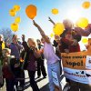 Photo - Students, parents and teachers release balloons at Sunnybrook Christian School as part of National School Choice Week. Photos by Nate Billings, The Oklahoman