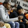Oklahoma City Thunder players Kevin Durant, left, and Russell Westbrook watch during an NCAA college basketball game between Oklahoma State University (OSU) and the University of Kansas at Gallagher-Iba Arena in Stillwater, Okla., Saturday, March 1, 2014. Oklahoma State won 72-65. PHOTO BY BRYAN TERRY, The Oklahoman