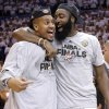 The Thunder\'s Eric Mayor and James Harden celebrate after the 107-99 win over the Spurs during Game 6 of the Western Conference Finals between the Oklahoma City Thunder and the San Antonio Spurs in the NBA playoffs at the Chesapeake Energy Arena in Oklahoma City, Wednesday, June 6, 2012. Photo by Chris Landsberger, The Oklahoman