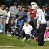 Stacy Lewis hits out of a bunker onto the sixth green of Lake Merced Golf Club during the final round of the Swinging Skirts LPGA Classic golf tournament on Sunday, April 27, 2014, in Daly City, Calif. (AP Photo/Eric Risberg)