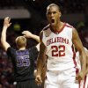 Oklahoma\'s Amath M\'Baye (22) reacts in the first half after making a basket and being fouled during an NCAA men\'s basketball game between the University of Oklahoma (OU) and Kansas State at the Lloyd Noble Center in Norman, Okla., Saturday, Feb. 2, 2013. Photo by Nate Billings, The Oklahoman