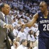 Photo - Memphis Grizzlies coach Lionel Hollins and forward Quincy Pondexter react during the first half of Game 5 of an NBA basketball playoffs Western Conference semifinal against the Oklahoma City Thunder, in Oklahoma City, Wednesday, May 15, 2013. (AP Photo/Sue Ogrocki)