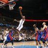 Oklahoma City\'s James Harden (13) takes a shot during the NBA basketball game between the Detroit Pistons and Oklahoma City Thunder at the Chesapeake Energy Arena in Oklahoma City, Monday, Jan. 23, 2012. Photo by Nate Billings, The Oklahoman