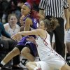 Oklahoma Sooners\' Morgan Hook (10) tries to steal the ball from Natalie Ventress as the University of Oklahoma (OU) Sooners play the Texas Christian University (TCU) Horned Frogs in women\'s college basketball at the Lloyd Noble Center on Wednesday, Dec. 28, 2011, in Norman, Okla. Photo by Steve Sisney, The Oklahoman