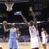 Oklahoma City\'s Kendrick Perkins (5) reacts after being called for an offensive foul during the first round NBA basketball playoff game between the Oklahoma City Thunder and the Denver Nuggets on Saturday, April 20, 2011, at the Oklahoma City Arena. Photo by Sarah Phipps, The Oklahoman