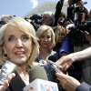 Arizona Gov. Jan Brewer speaks to reporters outside the Supreme Court in Washington, Wednesday, April 25, 2012, after the court held a hearing on Arizona\'s
