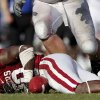 OU\'s Javon Harris recovers a fumble during the second half of the college football game between the University of Oklahoma Sooners (OU) and Air Force (AF) at the Gaylord Family-Oklahoma Memorial Stadium on Saturday, Sept. 18, 2010, in Norman, Okla. Photo by Bryan Terry, The Oklahoman