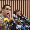 Egyptian armed forces spokesman Col. Ahmed Mohamed Ali talks during a press conference in Cairo, Egypt, Monday, July 8, 2013. Ali said police and troops guarding the Republican Guard complex came under
