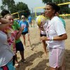 Clearwater, Kansas camper Chelsea Ast, with ball, gets a team ready for a volleyball match at Falls Creek Youth Camp on Tuesday, June 25, 2013 in Davis, Okla. Photo by Steve Sisney, The Oklahoman
