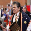 Bruce Ceasar is a member of the Pawnee Tribe who lives in Anadarko. At least 500 people representing several dozen Native American Nations within the state attended a New Year\'s pow-wow in the Centennial Building at State Fair Park Saturday , January 7, 2012, The celebration started around shortly after noon and continued into the night. Several hundred took part in the various dancers and the dancers wore tribal regalia. Photo by Jim Beckel, The Oklahoman