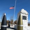 Photo - An American flag waves at half staff in the town of Hawthorne near the Hawthorne Army Depot on Tuesday, March 19, 2013, where seven Marines were killed and several others seriously injured in a training accident Monday night, about 150 miles southeast of Reno in Nevada's high desert. (AP Photo/Scott Sonner)