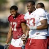 Photo - UNIVERSITY OF OKLAHOMA / COLLEGE FOOTBALL: Oklahoma's Gerald McCoy, right, and Mossis Madu talk during an OU football practice in Norman, Okla., Thursday, August 13, 2009. Photo by Bryan Terry, The Oklahoman ORG XMIT: KOD