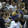 A fight breaks out between fans during Game 2 of the Western Conference Finals between the Oklahoma City Thunder and the San Antonio Spurs in the NBA playoffs at the AT&T Center in San Antonio, Texas, Tuesday, May 29, 2012. Photo by Bryan Terry, The Oklahoman
