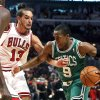 Photo -   Boston Celtics guard Rajon Rondo (9) drives on Chicago Bulls center Joakim Noah during the first half of an NBA basketball game, Monday, Nov. 12, 2012, in Chicago. (AP Photo/Charles Rex Arbogast)