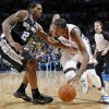 Oklahoma City\'s Kevin Durant (35) drives the ball against San Antonio\'s Kawhi Leonard (2) during the NBA basketball game between the Oklahoma City Thunder and the San Antonio Spurs at Chesapeake Energy Arena in Oklahoma City, Friday, March 16, 2012. San Antonio won, 114-105. Photo by Nate Billings, The Oklahoman
