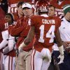 Oklahoma defensive coordinator Mike Stoops stares down OU\'s Aaron Colvin (14) during the college football game between the University of Oklahoma Sooners (OU) and the Notre Dame Fighting Irish at Gaylord Family-Oklahoma Memorial Stadium in Norman, Okla., Saturday, Oct. 27, 2012. Oklahoma lost 30-13. Photo by Bryan Terry, The Oklahoman