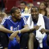 Oklahoma City Thunder\'s Kevin Durant, left, and Kendrick Perkins smile as the relax on the bench in the closing moment of an NBA basketball game against the Sacramento Kings in Sacramento, Calif., Friday, Jan. 25, 2013. The Thunder won 105-95. (AP Photo/Rich Pedroncelli) ORG XMIT: SCA115
