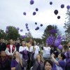 Purple balloons are released during a ceremony to remember victims of domestic violence at the Capitol in Oklahoma City, Thursday, October 4, 2012. Photo by Doug Hoke, The Oklahoman