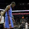 Oklahoma City\'s Kevin Durant walks towards the bench during Game 2 of the Western Conference Finals between the Oklahoma City Thunder and the San Antonio Spurs in the NBA playoffs at the AT&T Center in San Antonio, Texas, Tuesday, May 29, 2012. Oklahoma City lost 120-111. Photo by Bryan Terry, The Oklahoman