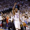 Oklahoma City\'s Kevin Durant (35) reacts in the finals seconds during Game 6 of the Western Conference Finals between the Oklahoma City Thunder and the San Antonio Spurs in the NBA playoffs at the Chesapeake Energy Arena in Oklahoma City, Wednesday, June 6, 2012. Oklahoma City won 107-99. Photo by Bryan Terry, The Oklahoman