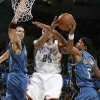 Oklahoma City\'s Earl Watson goes to the basket between Washington\'s JaVale McGee, left, and Dominic McGuire during the NBA basketball game between the Oklahoma City Thunder and the Washington Wizards at the Ford Center in Oklahoma City, Wed., March 4, 2009. PHOTO BY BRYAN TERRY, THE OKLAHOMAN