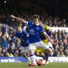 Photo - Everton's Leighton Baines scores a penalty against Swansea City during their English FA Cup fifth round soccer match at Goodison Park Stadium, Liverpool, England, Sunday Feb. 16, 2014. (AP Photo/Jon Super)