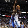 Denver Nuggets guard Raymond Felton (20) goes up for a shot during the second half of game 3 of a first-round NBA basketball playoff series against the Oklahoma City Thunder Saturday, April 23, 2011, in Denver. (AP Photo/Jack Dempsey)