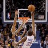 Oklahoma City\'s Kevin Durant (35) makes a basket as he is fouled by Denver\'s Wilson Chandler (21) in the dinal minute of the NBA basketball game between the Denver Nuggets and the Oklahoma City Thunder in the first round of the NBA playoffs at the Oklahoma City Arena, Wednesday, April 27, 2011. Photo by Bryan Terry, The Oklahoman