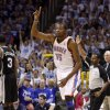 Oklahoma City\'s Kevin Durant (35) reacts after a basket in front of San Antonio\'s Stephen Jackson (3) and San Antonio coach Gregg Popovich during Game 4 of the Western Conference Finals between the Oklahoma City Thunder and the San Antonio Spurs in the NBA playoffs at the Chesapeake Energy Arena in Oklahoma City, Saturday, June 2, 2012. Oklahoma CIty won 109-103. Photo by Bryan Terry, The Oklahoman