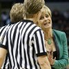 Photo -  Baylor head coach Kim Mulkey talks with officials in the first half of a regional semifinal game in the women's NCAA college basketball tournament in Oklahoma City, Sunday, March 31, 2013.  Louisville won 82-81. (AP Photo/Sue Ogrocki) ORG XMIT: OKSO126