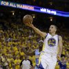 Golden State Warriors\' Stephen Curry lays up a shot during the second half of Game 6 in a first-round NBA basketball playoff series against the Denver Nuggets on Thursday, May 2, 2013, in Oakland, Calif. (AP Photo/Ben Margot)
