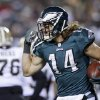Philadelphia Eagles\' Riley Cooper celebrates after scoring a touchdown during the first half of an NFL wild-card playoff football game against the New Orleans Saints, Saturday, Jan. 4, 2014, in Philadelphia. (AP Photo/Michael Perez)