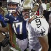 New Orleans Saints quarterback Drew Brees (9) and San Diego Chargers quarterback Philip Rivers (17) greet each other after their NFL football game in New Orleans, Sunday, Oct. 7, 2012. The Saints won 31-24. (AP Photo/Bill Haber)