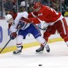 Detroit Red Wings\' Brian Lashoff, right, shoves Montreal Canadiens\' Brendan Gallagher (11) off the puck during the second period of an NHL hockey game Thursday, March 27, 2014, in Detroit. (AP Photo/Duane Burleson)