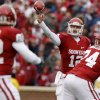 Oklahoma\'s Landry Jones (12) throws pass during a college football game between the University of Oklahoma Sooners (OU) and the Iowa State University Cyclones (ISU) at Gaylord Family-Oklahoma Memorial Stadium in Norman, Okla., Saturday, Nov. 26, 2011. Photo by Bryan Terry, The Oklahoman