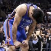 Oklahoma City\'s Steven Adams (12) reacts after a play during Game 1 of the Western Conference Finals in the NBA playoffs between the Oklahoma City Thunder and the San Antonio Spurs at the AT&T Center in San Antonio, Monday, May 19, 2014. Photo by Sarah Phipps, The Oklahoman
