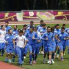 Greece\'s players run during a training session at the Euro 2012 soccer championship in Legionowo about 25 kilometers (15 miles) north of Warsaw, Poland on Monday, June 18, 2012. (AP Photo/Thanassis Stavrakis)